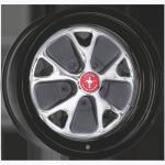 5.5x14 Mustang Styled Steel ´67 chromed Lochkreis 5x4 1/2´´ Backspace 4´´ Felgenring schwarz
