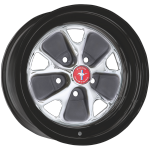 5.5x14 Mustang Styled Steel ´67 chromed Bolt pattern 5x4 1/2´´, Backsoace 4´´ Rim black powder coated