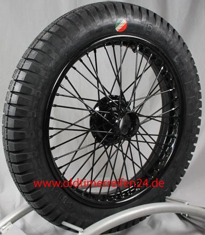 WW5771 Speichenrad 2.5x19 MWS schwarz outer laced 4.00X19 S TT Blockley 3 Block Racing Komplettrad inkl. Montage, Schlauch und Wuchtung